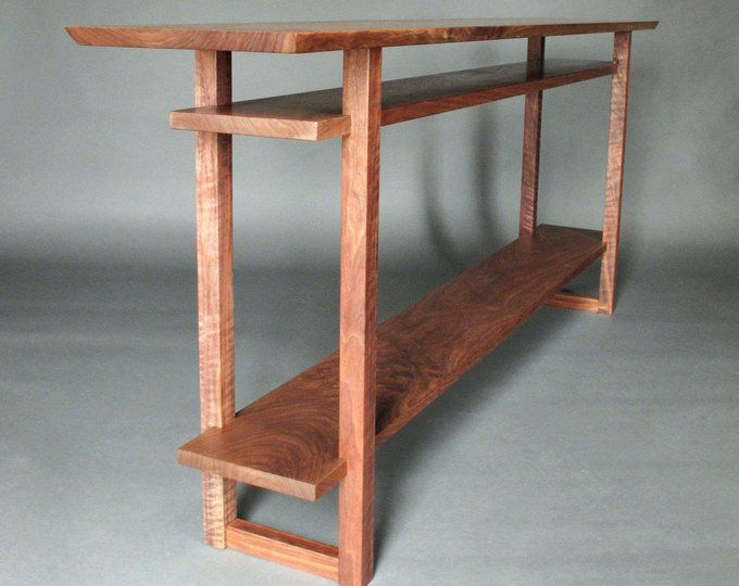 Maple And Walnut Thin Console Table For Hallways Narrow