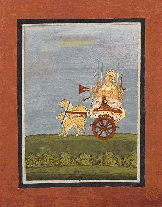 "Durga.  Album ""Indian Theogony, following some characters on horseback"". Bengal, perhaps Chandannagar, 1760. 1 vol. 37 miniatures: gouache, watercolor; various formats. Bibliothèque nationale de France"