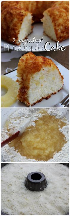 Pineapple Cake (Only 2 Ingredients!)One box of Angel food cake mix and one can of crushed pineapple mix together place in buttered cake pan bake at lowest rack in oven at 350 for 45 min let cool for 10 min