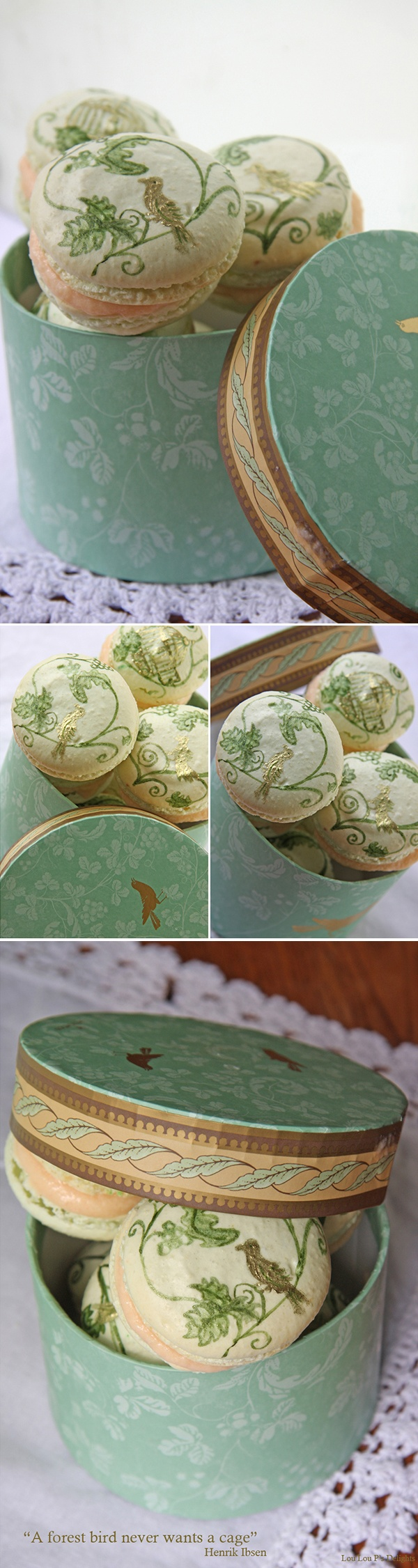Hand-painted Bird Macarons by Lou Lou P's Delights