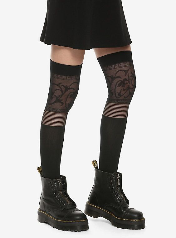 1bbe917c778 Black Mosaic Thigh Highs in 2019