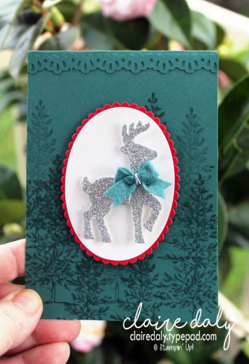 Stampin Up Christmas Card 2017.Santa's Sleigh Thinlits and Lovely as a Tree with Tranquil Tide. Card by Claire Daly Stampin' Up! Demonstrator Melbourne Australia.