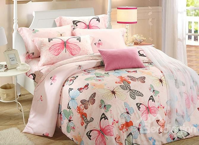 Colorful Butterfly Reactive Printing Pink 4 Piece Cotton Bedding Sets # Bedding #bedroom #