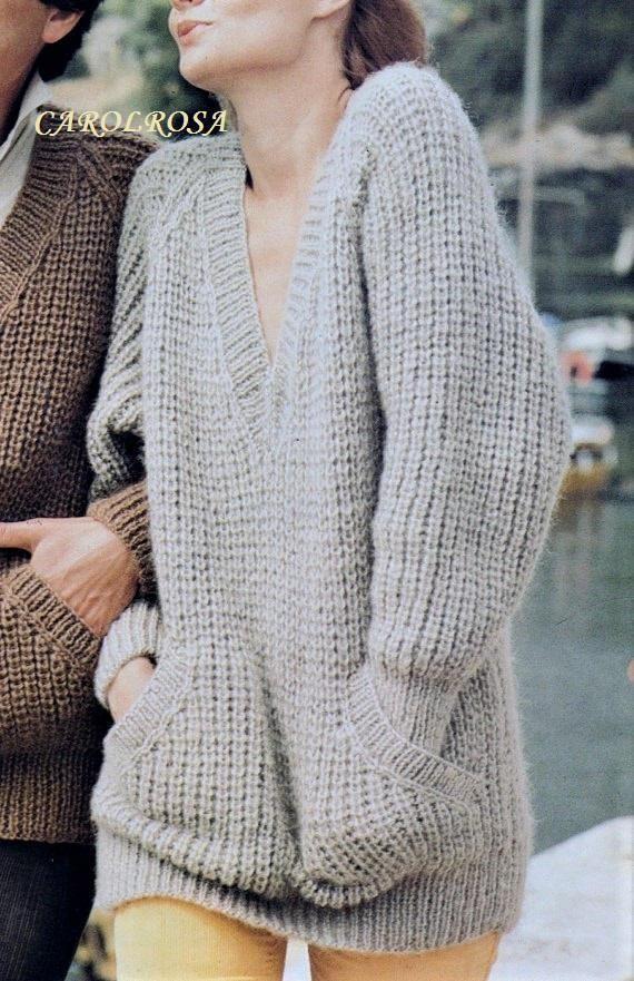 Instant Download Pdf Knitting Pattern Ladies Or Mens Sloppy Joe