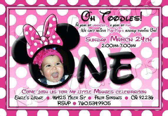 Birthday Cake Minnie Mouse 1st Birthday Invitation Wording