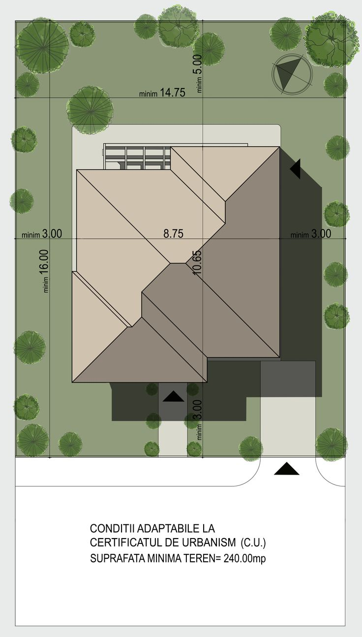 Casa mica organizata functional pe parter si etaj- Plan de situatie| Single-family dwelling- Site view| Etichete: case mici, case mici cu etaj, case moderne, proiecte case