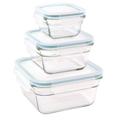 Glasslock 6-Piece Square Glass Food Storage Set, Light Clear