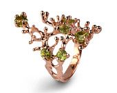 REEF 14k Rose Gold Ring, Rose Gold Peridot Ring, Green Peridot Ring Gold, Peridot Enagagement Ring, Organic Ring    REEF 14k Rose Gold Ring, Rose Gold ... $900.00 USD