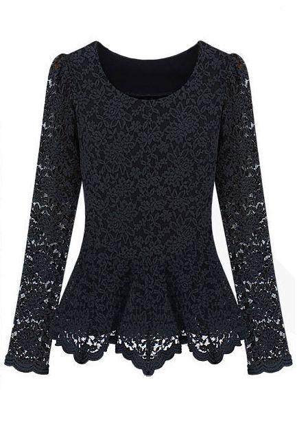 Black Long Sleeve Ruffles Embroidery Lace T-Shirt - Sheinside.com