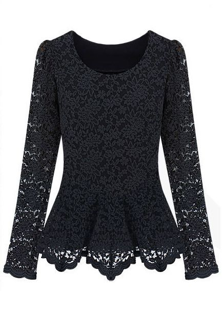Black Long Sleeve Ruffles Embroidery Lace T-Shirt