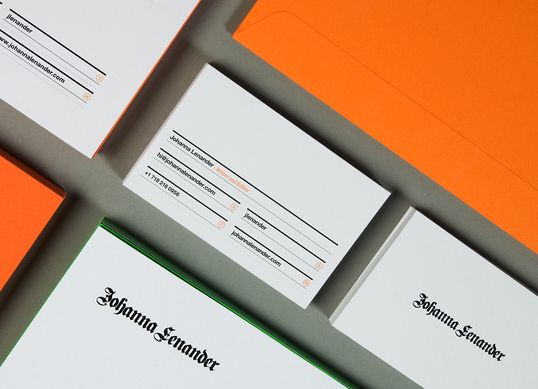 """Printing techniques include relief and fluorescent inks and high quality paper stock such as the uncoated Munken Polar 400gsm was used for the stationery.""""Identity, Johanna Lenand, Business Cards, Lundgrenlindqvist, Graphics Design, Brand, Lundgren Lindqvist, Behance Network, Crop Portfoliolayout"""