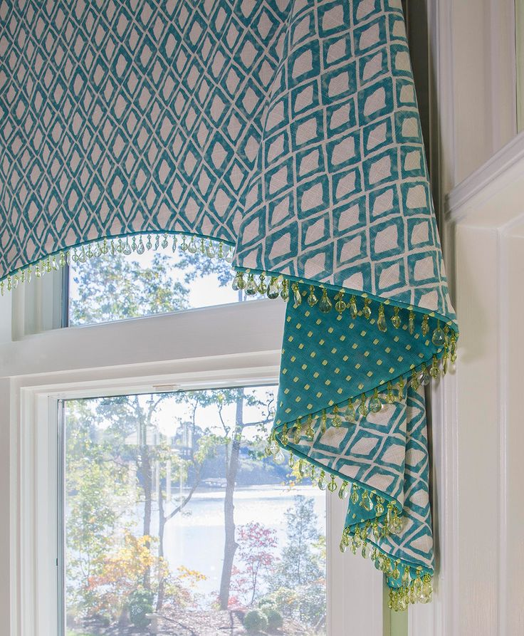 Fresh bead fringe adds a pop to this window treatment. Trim by Brimar, Mosaics Collection. Design by Sew Beautiful, MD. #trim #fringe #brimar
