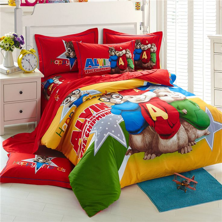 alvin and the chipmunks bedding sets cartoon bed linen cotton bed sheets kids bedding set duvet cover king size - King Size Bed Sheets
