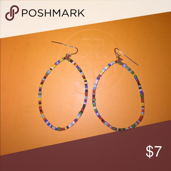 Hand beaded hoop earrings Multi color hoop earrings Jewelry Earrings