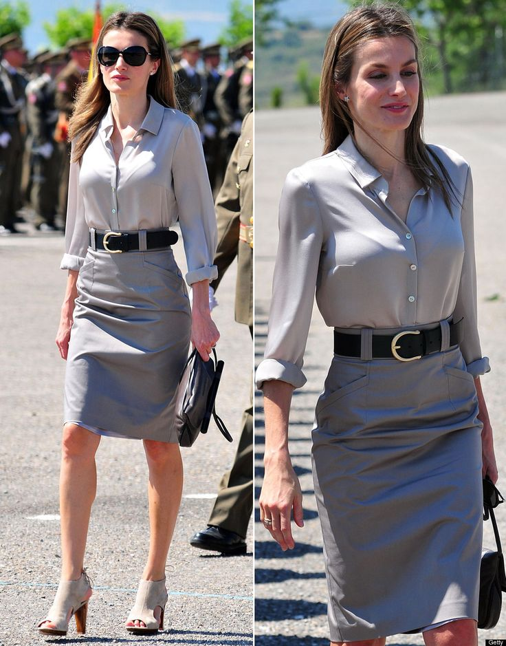 Princess Letizia modern classic fun yet conservative timeless style.  Gray skirt and pewter silver blouse black and beige accessories