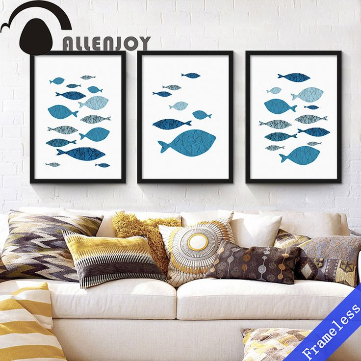 Minimalist Nordic Mediterranean blue Shoal fish Art Print Poster Abstract Wall Picture Canvas Painting Kid Home Decor unframed
