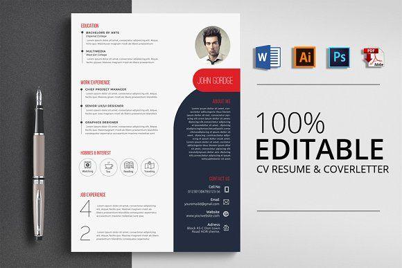 Stylish Word Cv Resume Resume Design Template Resume Templates Resume