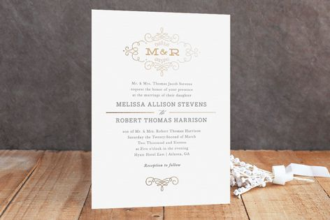 Ornate Monogram Foil-Pressed Wedding Invitations by Kristen Smith at minted.com