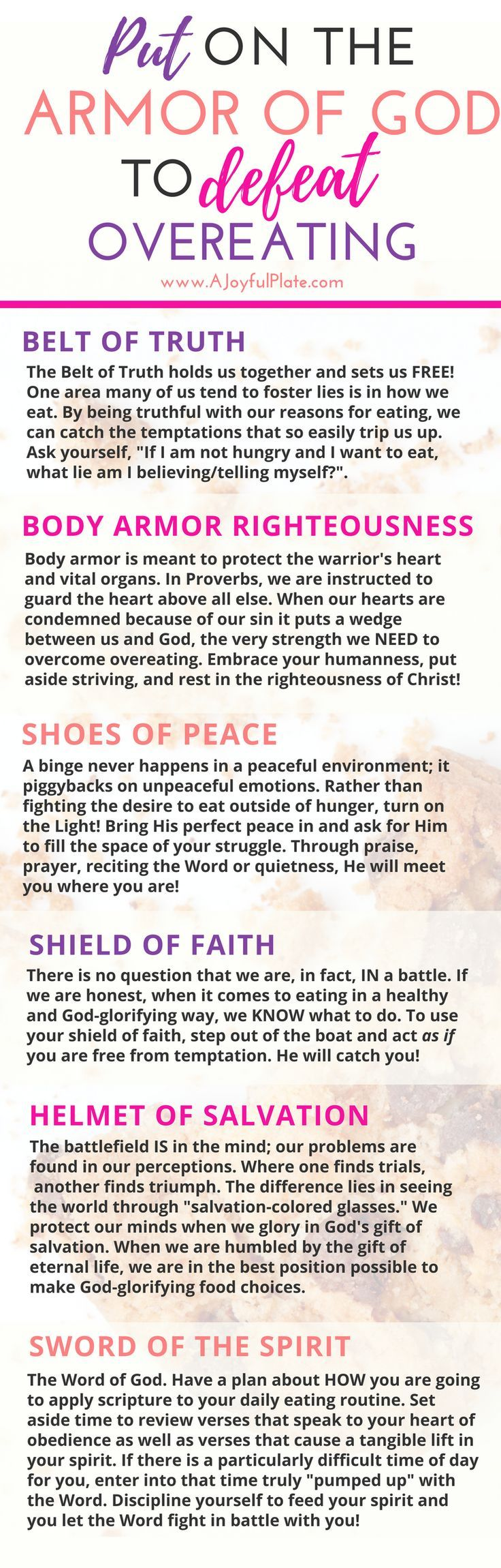 Use God's Armor to STOP overeating in it's tracks! Practical tips for the Christian.