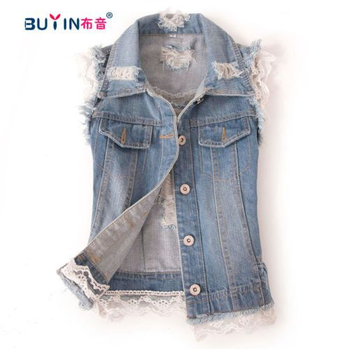 Women Clothes Lace Sleeveless Jean Jacket frayed retro denim vest top coat