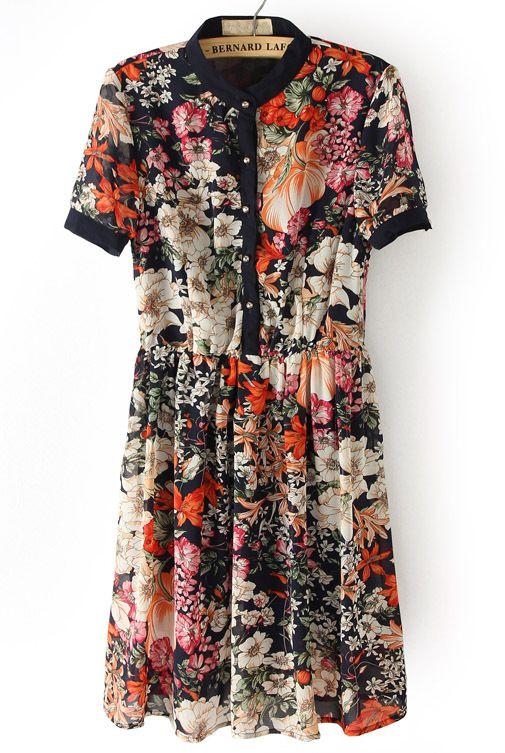Black Short Sleeve Floral Buttons Pleated Dress - Sheinside.com