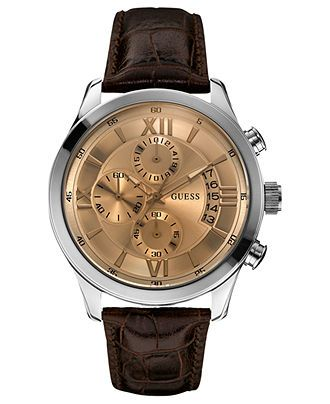 GUESS Watch, Men's Chronograph Brown Croco-Grain Leather Strap 45mm U0192G1 - Men's Watches - Jewelry & Watches - Macy's