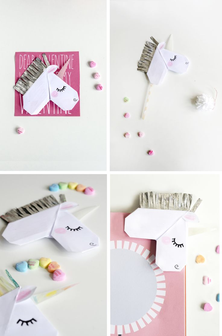 DIY: unicorn Valentine's day cards & bookmarks #Origami #Paper
