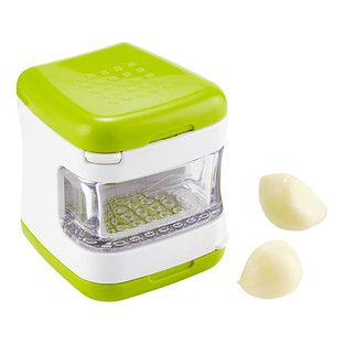 Easier and more convenient than a traditional garlic press, the Garlic Cube preps garlic in one quick motion. Simply add peeled garlic and press to mince, or flip the cube to use the slicing option. Contents fall neatly into the clear, slide-out bin. When you're done, blade frames snap out for fuss-free cleaning.
