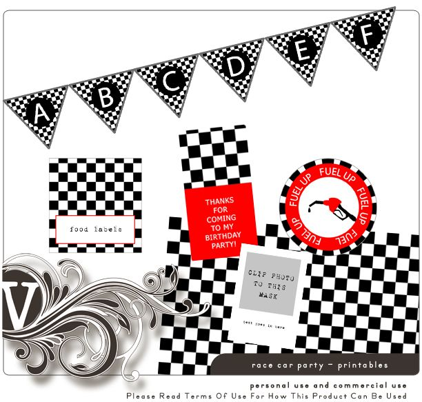Free race car printables-patterned paper, food labels, cup labels, photo display, flags, favor labels
