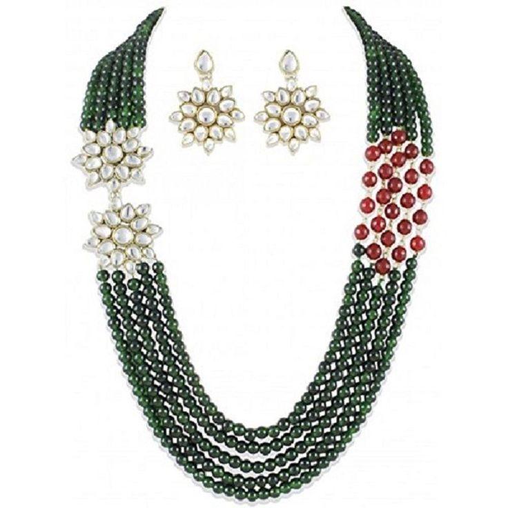 Designer Party Wear Bollywood Multi Layer Kundan Brooch Strand Necklace Set #natural_gems15