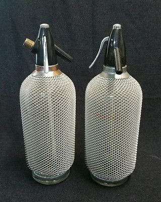 Pair of Soda Syphons Glass & Mesh Chain Cover Czech Vintage 1960's 1970's