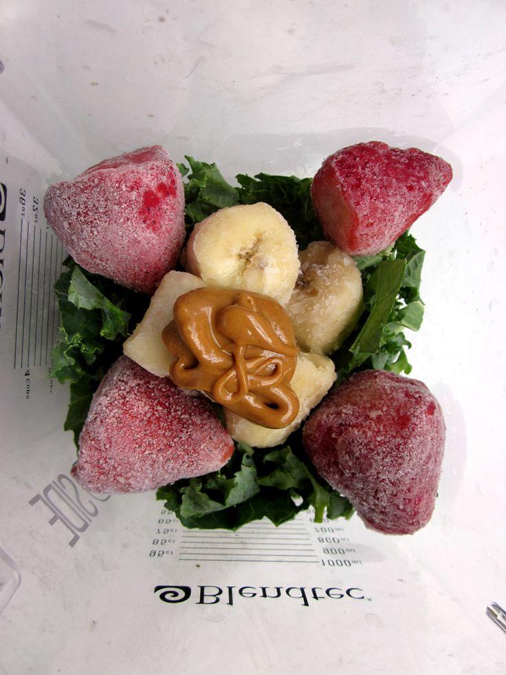 Perfect Kale Smoothie- banana, strawberry. yum!