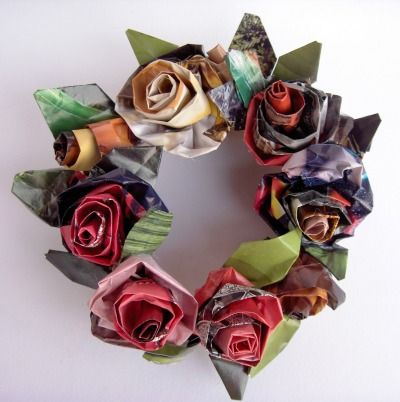 DIY: rose wreath made from recycled paper #paper_crafting #crafts