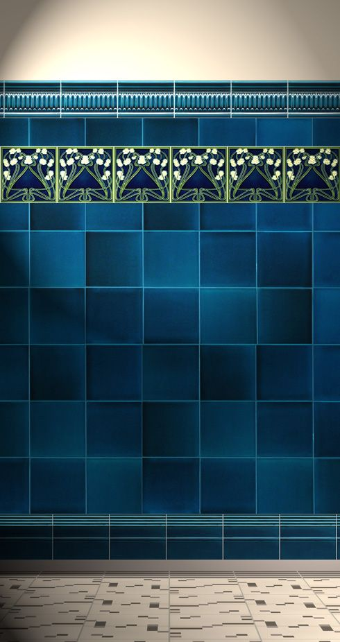 Art Noveau tiles for sale at Golem - rich blue and lilies of the valley