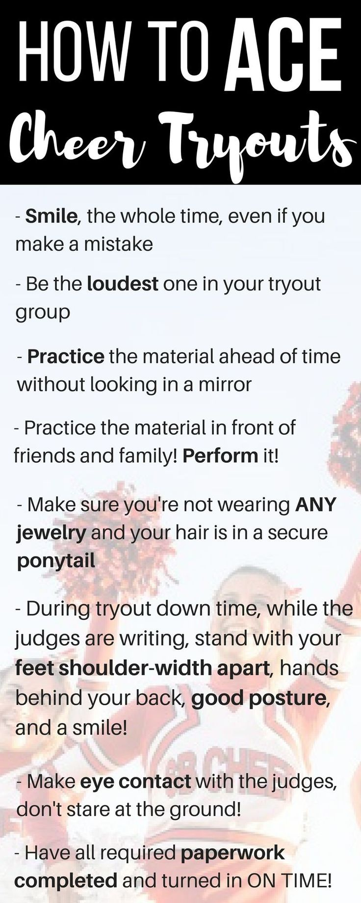 Making the cheerleading squad. Cheer tryouts. Cheer coach advice. How to be a cheerleader.