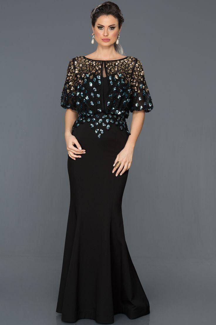 black sequined fish evening dress gown abu222, #abu222