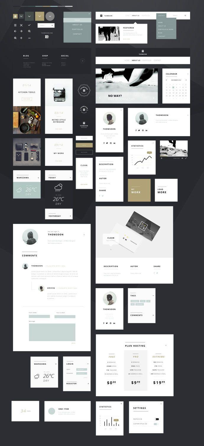 Flat UI Design; Freebies; File Type: PSD; Tomasz Mazurczak; 55+ FREE UI KIT Elements. Minimal; Shape Photoshop Vector; Clean Icons; Preview Website.