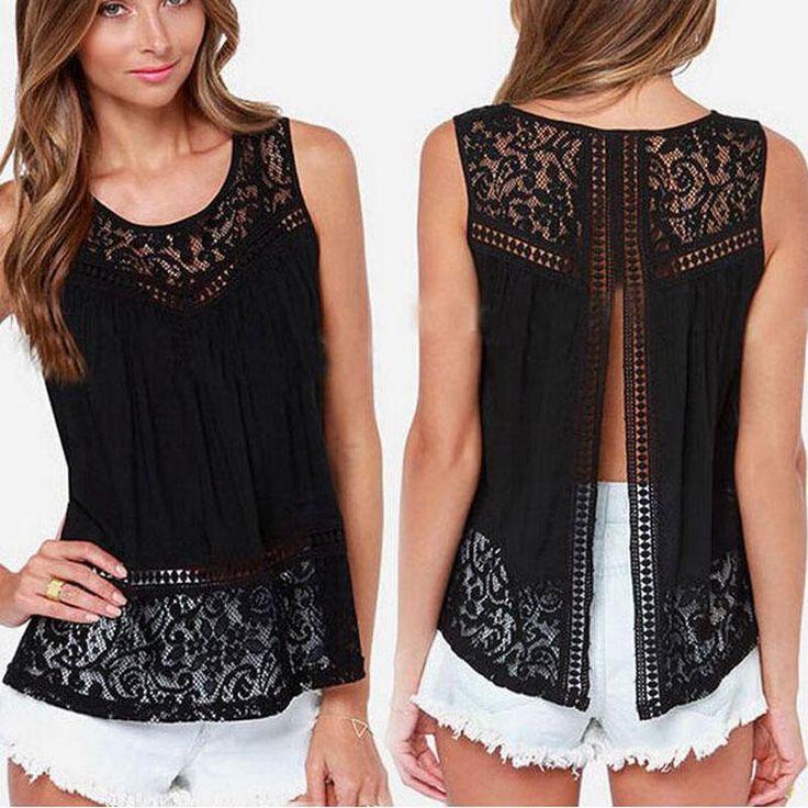 2017 Summer Women Chiffon Shirts Crochet Lace vest Blouse Shirt Sexy Open Back Sleeveless Tank Tops Black White