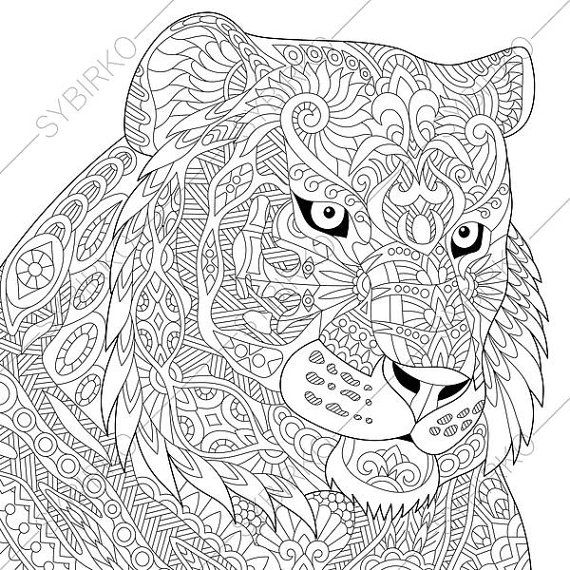 adult coloring page tiger zentangle doodle coloring book page for adults digital illustration instant download print - Coloring Pages Tigers Lions