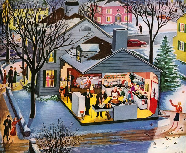 Ballantine Thanksgiving, 1953, by artist Lucille Corcos. #vintage #Thanksgiving #holidays #1950s #illustrations
