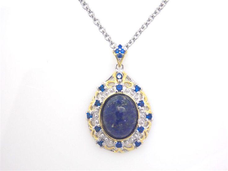 Ladies 14K YG Overlay Lapis Lazuli, Blue Grass Pendant w/ Stainless Steel Chain  #Pendant