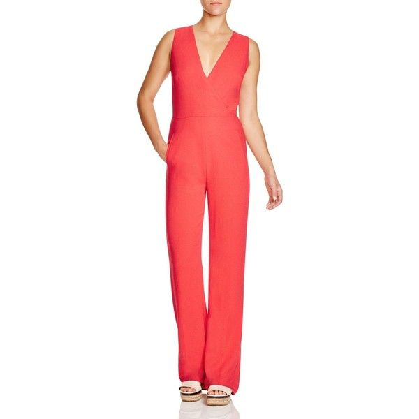 Tory Burch Pebbled Crepe Jumpsuit ($370) ❤ liked on Polyvore featuring jumpsuits, spark, crepe jumpsuit, romper jumpsuit, red jump suit, jump suit and playsuit romper