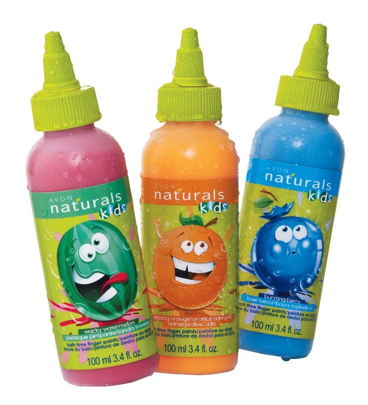 Avon Naturals Kids has introduced new Bath Time Finger Paints in 3 fun fruity scents including: Wacky Watermelon, Outgoing Orange and Bursting Berry. Kids can draw designs on wet skin, inside the tub and on bath toys. And when they're done, it just rinses away. Find these and a host of other Naturals Kids bath products in Avon's Campaign 21 Brochure.