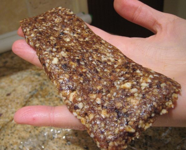 Banana Bread Larabar - yummy! I made 5 batches at once, because it takes a long time (double the time she said) for the bananas - I put the bananas on parchment paper so they didn't stick - popped off just fine.  I also smashed the mix into a baking dish, set in the fridge for 2 hours and then sliced bars with a knife, much easier than the rolling pin style. Excellent! (DD)