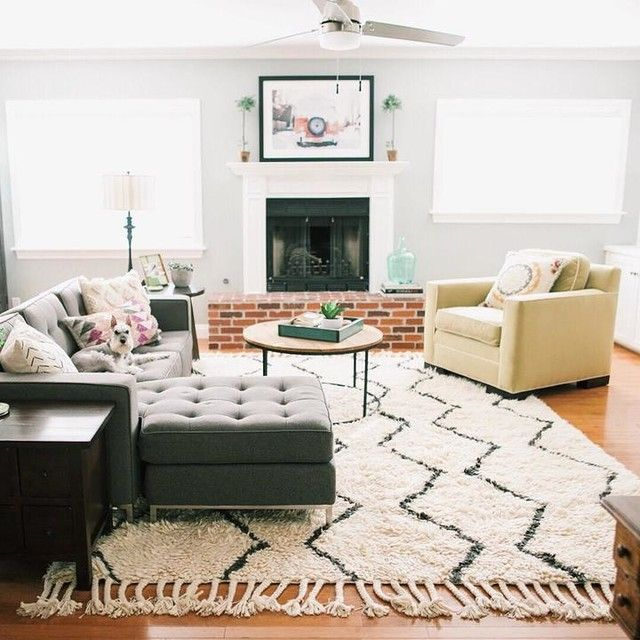 West Elm Rug - Mix of warm and cool colors in room