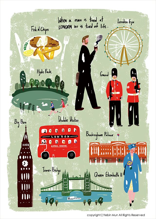 United Kingdom,UK,England,travel, traveling, trip, tour, journey,fish&chips,Big Ben, Double Decker,red,illustration,illust,illustrator