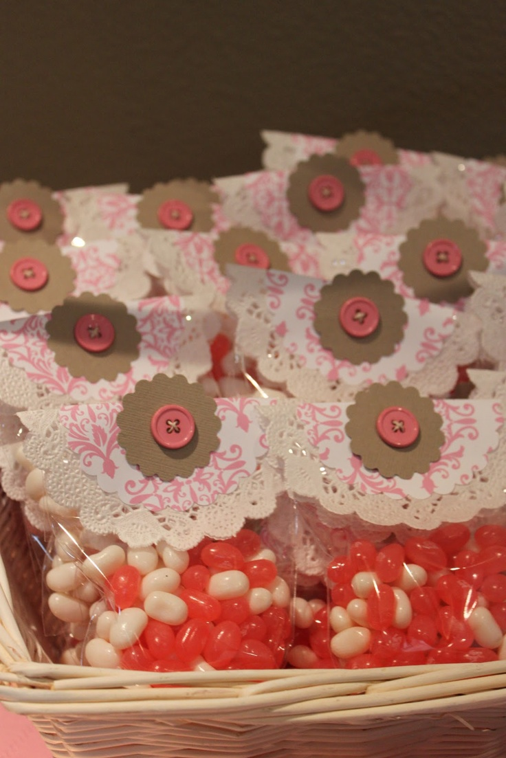 Vintage Baby Shower.  Pink and Brown.  Jelly Bean Favors.  Button Bags.  Doiley Lace Flowers.  Jelly Bellys.
