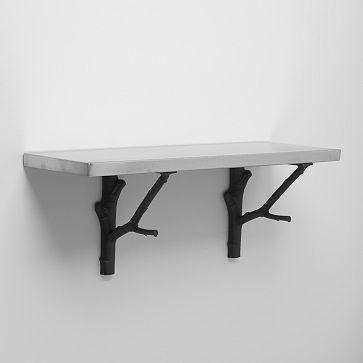 Stainless Steel Shelf + Black Branch Brackets #westelm