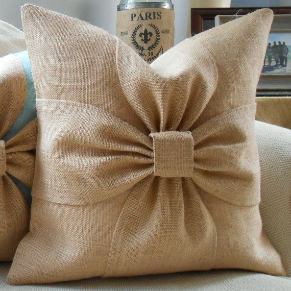 Burlap bow pillow cover in natural burlap 18x18 by LowCountryHome