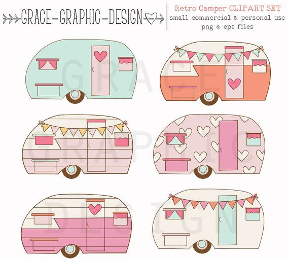 Retro Camper Clipart Clipart Camping Clipart by GraceGraphicDesign